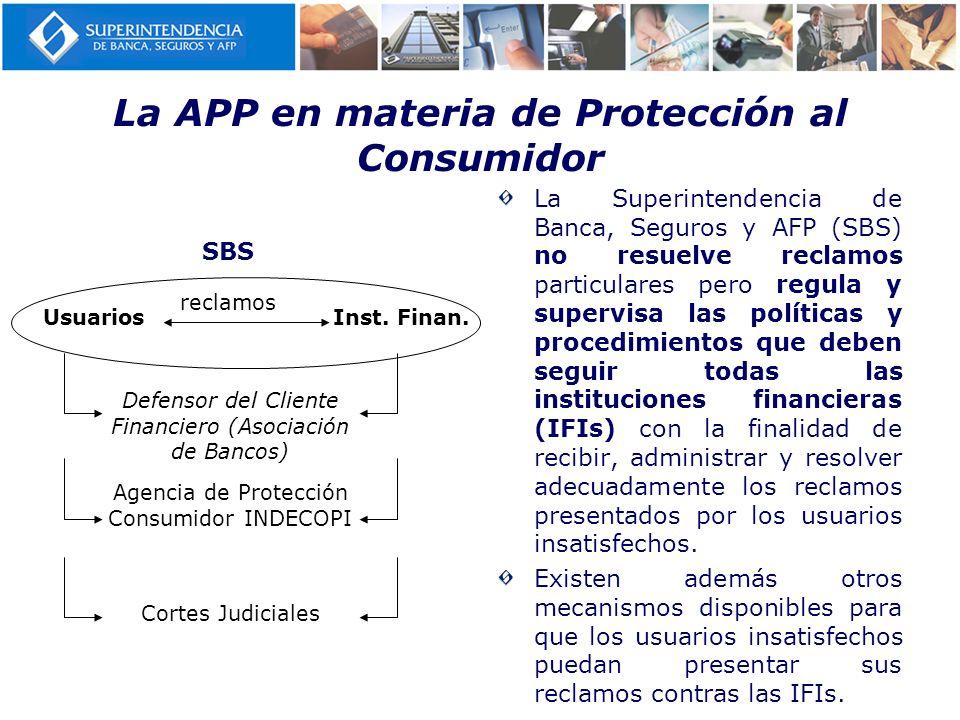 La APP en materia de Protección al Consumidor La Superintendencia de Banca, Seguros y AFP (SBS) no resuelve reclamos particulares pero regula y superv