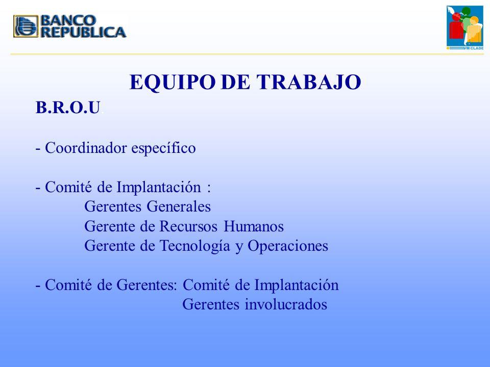 EQUIPO DE TRABAJO B.R.O.U. - Coordinador específico - Comité de Implantación : Gerentes Generales Gerente de Recursos Humanos Gerente de Tecnología y