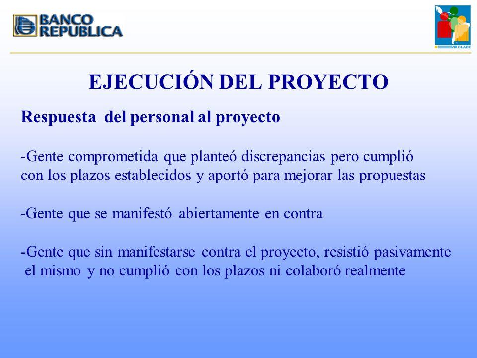 EJECUCIÓN DEL PROYECTO Respuesta del personal al proyecto -Gente comprometida que planteó discrepancias pero cumplió con los plazos establecidos y apo