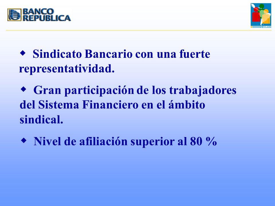 w Sindicato Bancario con una fuerte representatividad. w Gran participación de los trabajadores del Sistema Financiero en el ámbito sindical. w Nivel