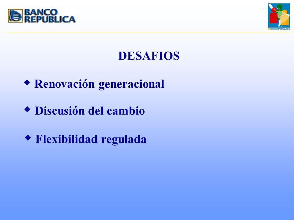 DESAFIOS w Renovación generacional w Discusión del cambio w Flexibilidad regulada