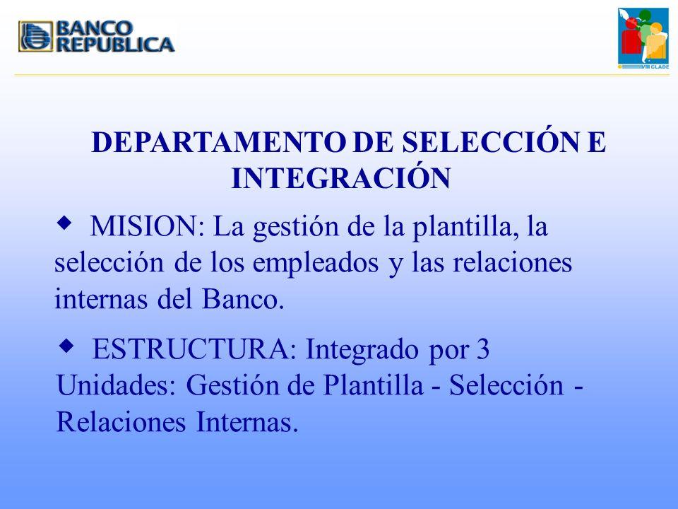 DEPARTAMENTO DE SELECCIÓN E INTEGRACIÓN w MISION: La gestión de la plantilla, la selección de los empleados y las relaciones internas del Banco. w EST