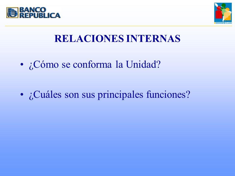 RELACIONES INTERNAS ¿Cómo se conforma la Unidad? ¿Cuáles son sus principales funciones?