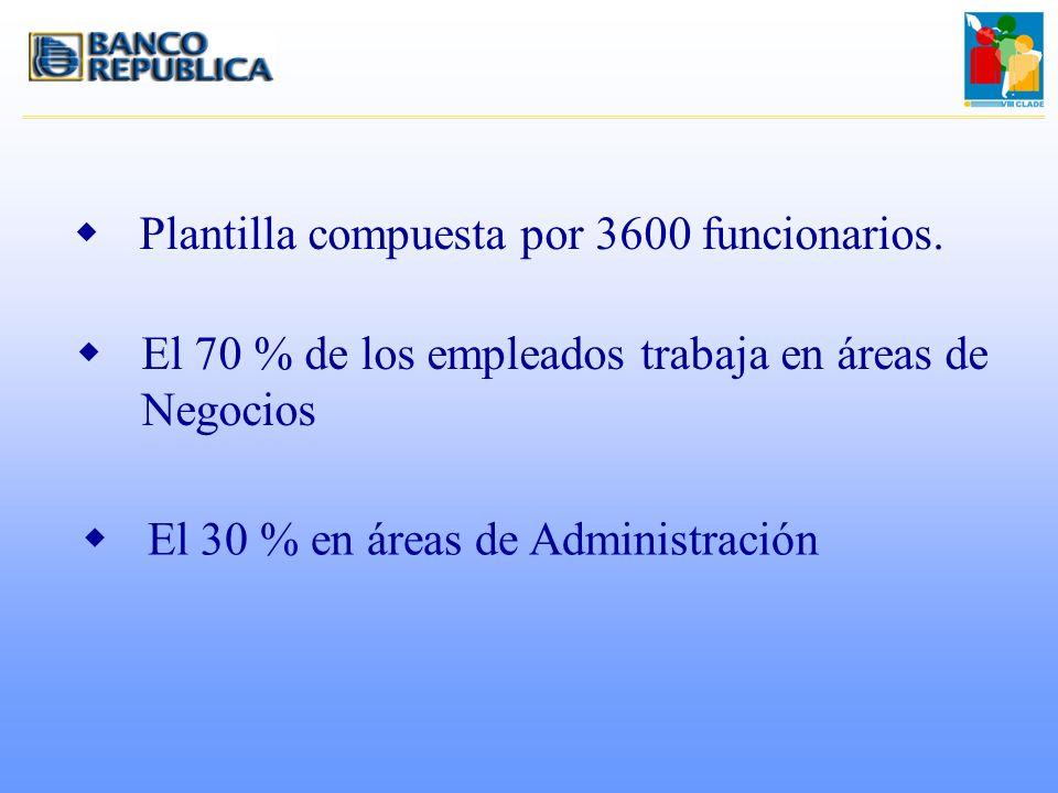 wPlantilla compuesta por 3600 funcionarios. wEl 70 % de los empleados trabaja en áreas de Negocios wEl 30 % en áreas de Administración