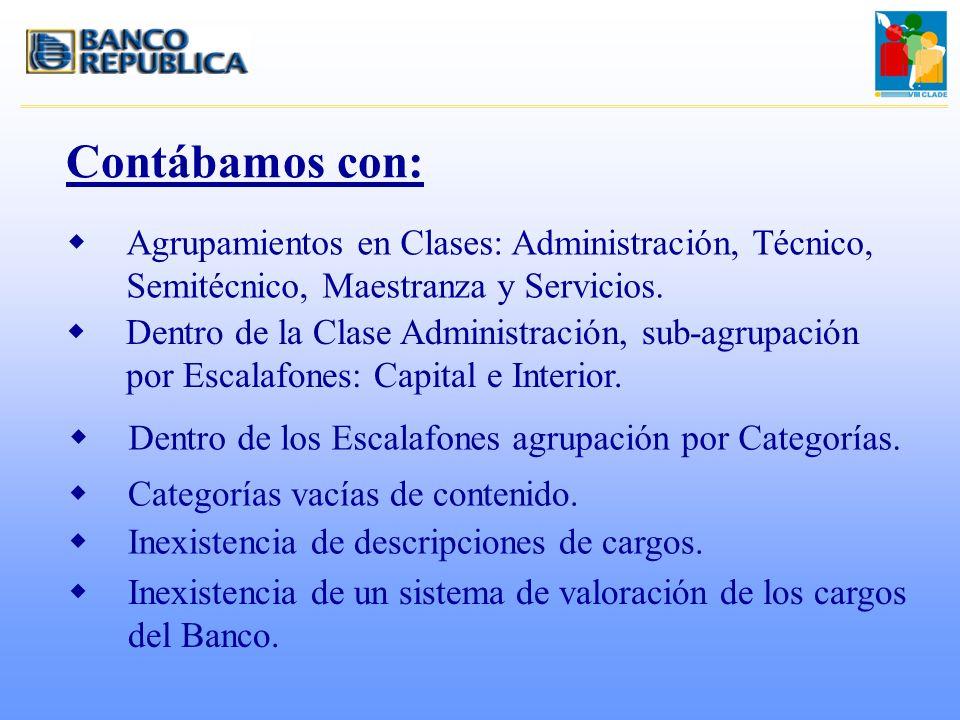 Contábamos con: wAgrupamientos en Clases: Administración, Técnico, Semitécnico, Maestranza y Servicios. wDentro de la Clase Administración, sub-agrupa
