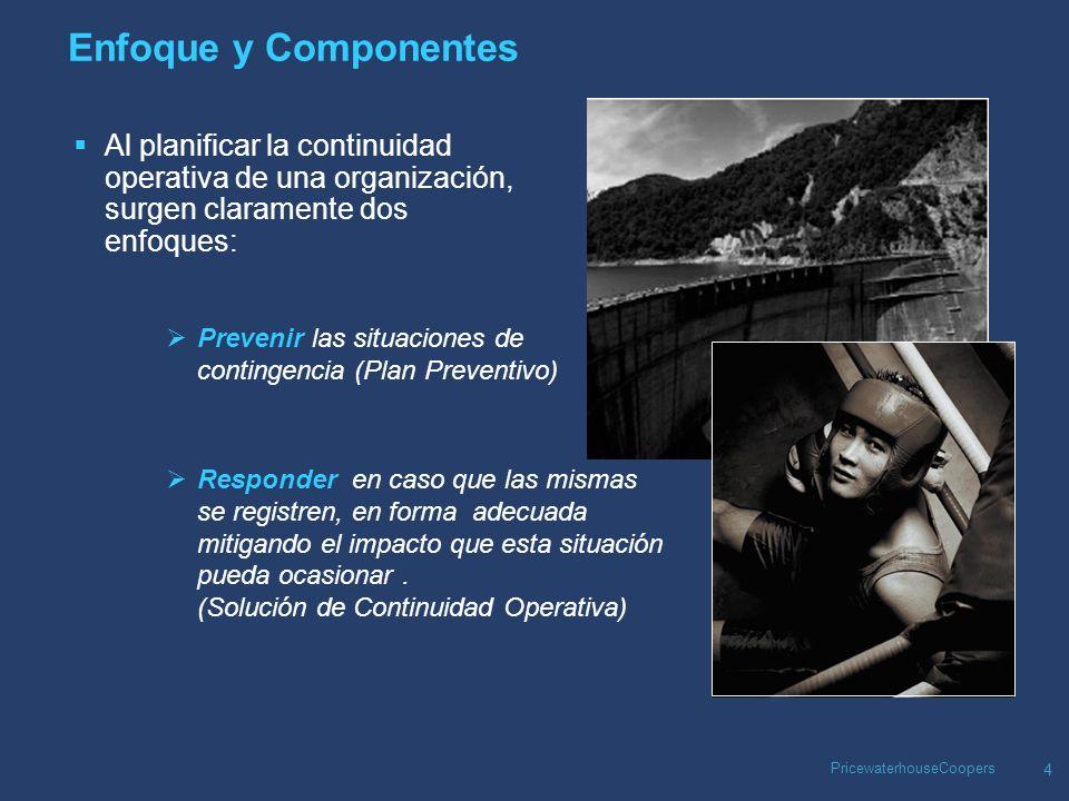 PricewaterhouseCoopers 5 Enfoque y Componentes Independientemente del esfuerzo que se dedique al desarrollo e implementación de un Plan Preventivo, las contingencias igual pueden suceder, por lo que ambos enfoques son complementarios