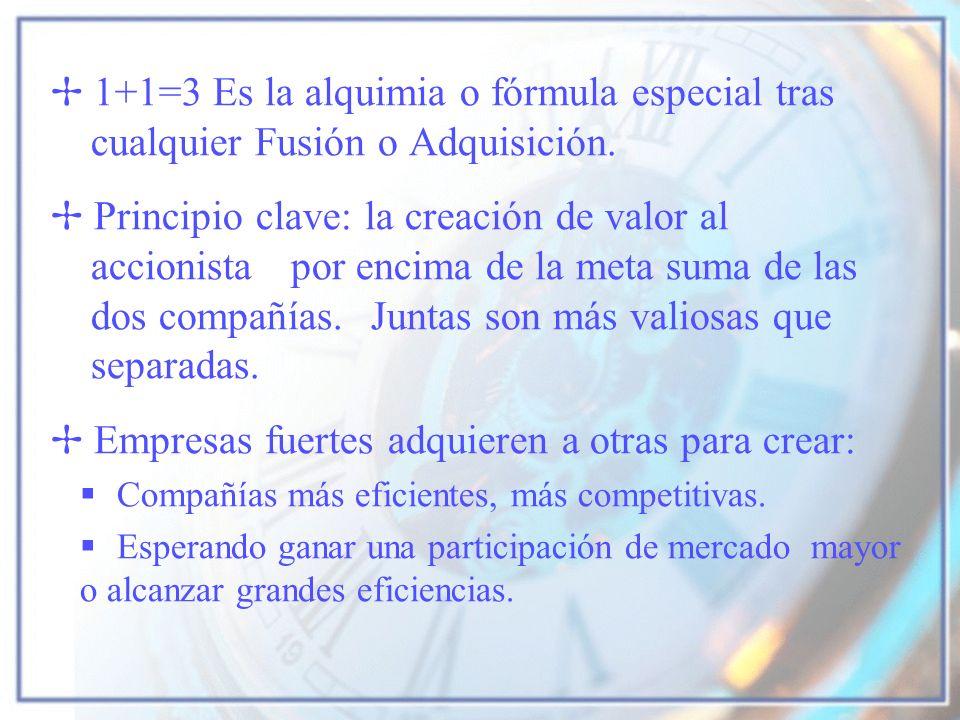 1+1=3 Es la alquimia o fórmula especial tras cualquier Fusión o Adquisición. Principio clave: la creación de valor al accionista por encima de la meta