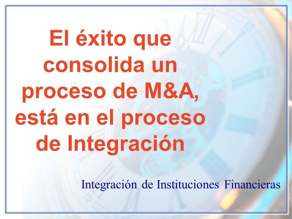El éxito que consolida un proceso de M&A, está en el proceso de Integración Integración de Instituciones Financieras