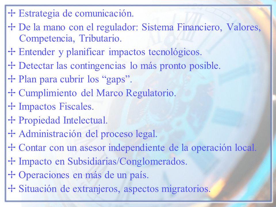 Estrategia de comunicación. De la mano con el regulador: Sistema Financiero, Valores, Competencia, Tributario. Entender y planificar impactos tecnológ
