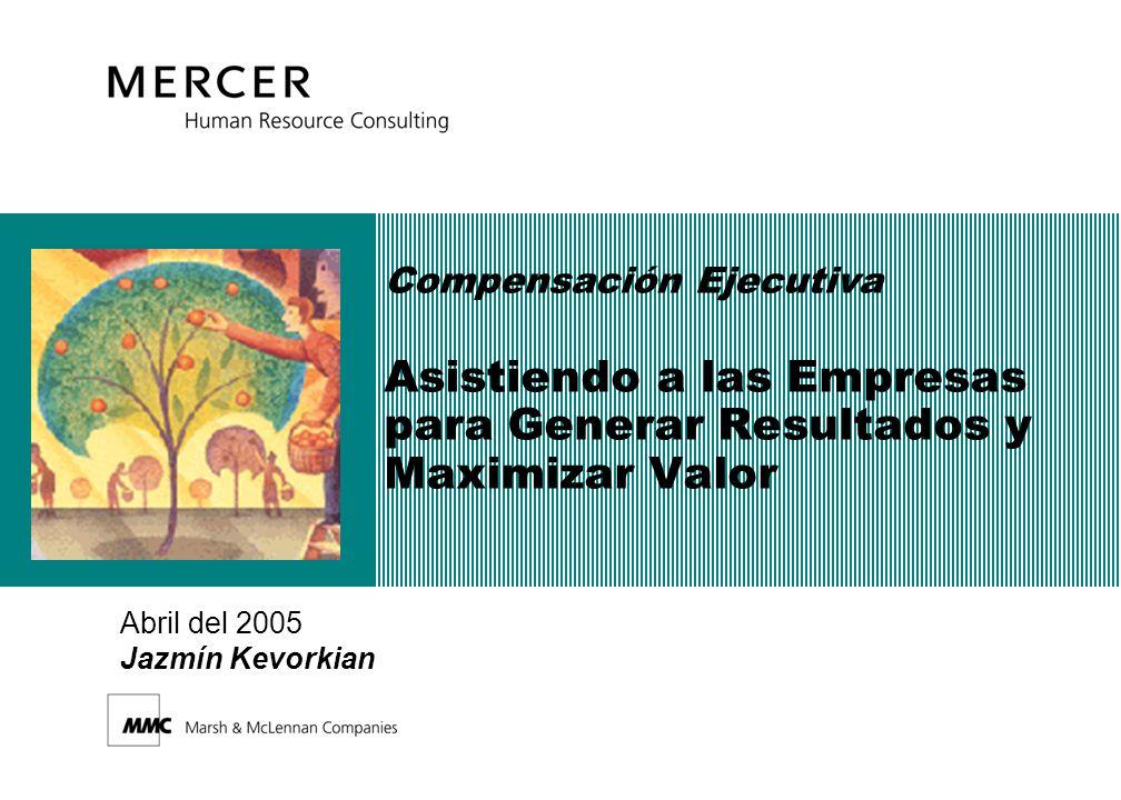 Compensación Ejecutiva Asistiendo a las Empresas para Generar Resultados y Maximizar Valor Abril del 2005 Jazmín Kevorkian