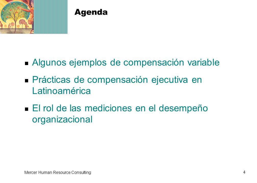 4 Mercer Human Resource Consulting Agenda Algunos ejemplos de compensación variable Prácticas de compensación ejecutiva en Latinoamérica El rol de las