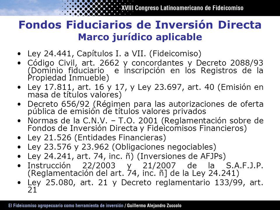 Fondos Fiduciarios de Inversión Directa Marco jurídico aplicable Ley 24.441, Capítulos I. a VII. (Fideicomiso) Código Civil, art. 2662 y concordantes