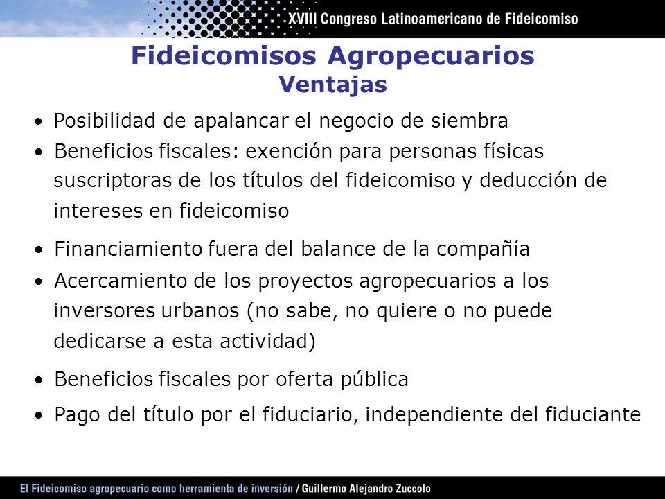 Fideicomisos Agropecuarios Ventajas Posibilidad de apalancar el negocio de siembra Beneficios fiscales: exención para personas físicas suscriptoras de
