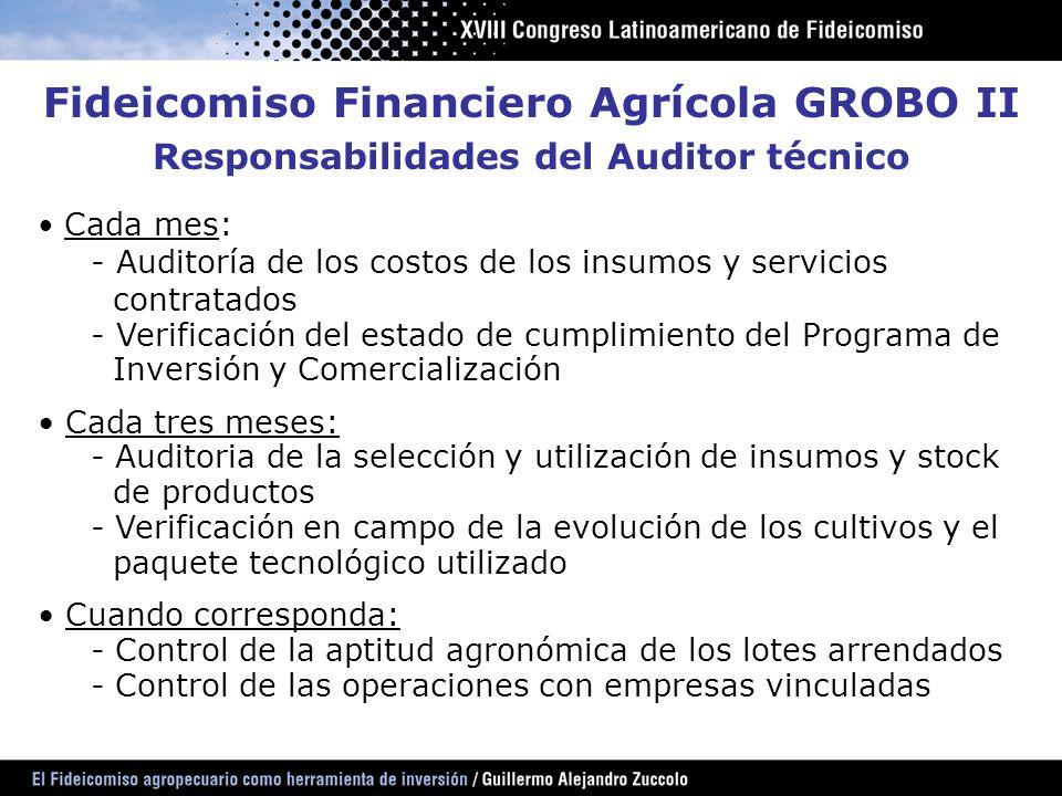Fideicomiso Financiero Agrícola GROBO II Responsabilidades del Auditor técnico Cada mes: - Auditoría de los costos de los insumos y servicios contrata