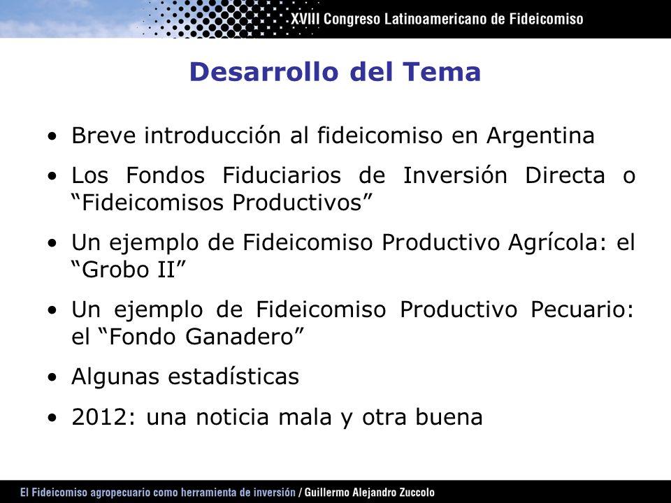 Desarrollo del Tema Breve introducción al fideicomiso en Argentina Los Fondos Fiduciarios de Inversión Directa o Fideicomisos Productivos Un ejemplo d