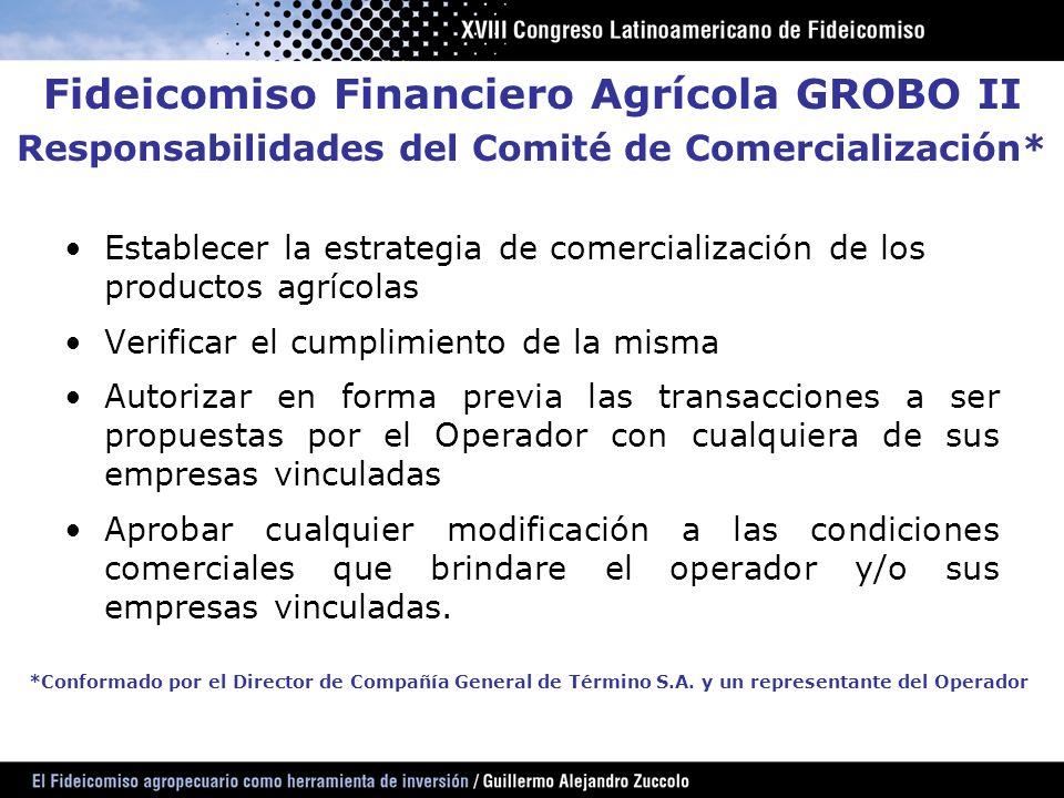 Establecer la estrategia de comercialización de los productos agrícolas Verificar el cumplimiento de la misma Autorizar en forma previa las transaccio