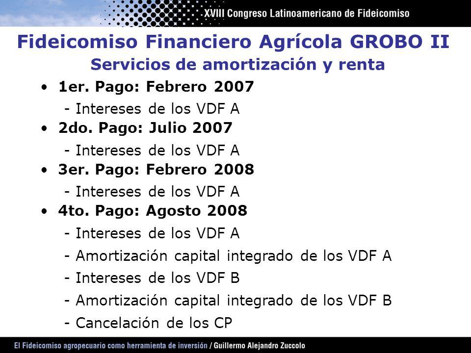 Servicios de amortización y renta 1er. Pago: Febrero 2007 - Intereses de los VDF A 2do. Pago: Julio 2007 - Intereses de los VDF A 3er. Pago: Febrero 2