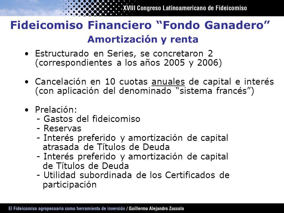 Amortización y renta Estructurado en Series, se concretaron 2 (correspondientes a los años 2005 y 2006) Cancelación en 10 cuotas anuales de capital e