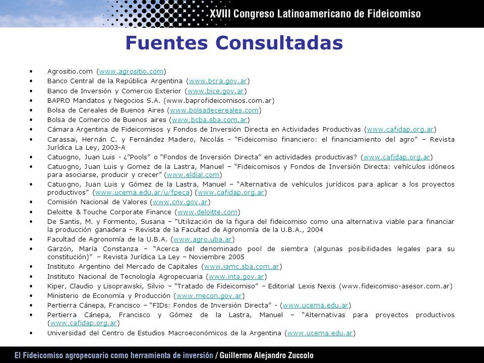 Fuentes Consultadas Agrositio.com (www.agrositio.com)www.agrositio.com Banco Central de la República Argentina (www.bcra.gov.ar)www.bcra.gov.ar Banco