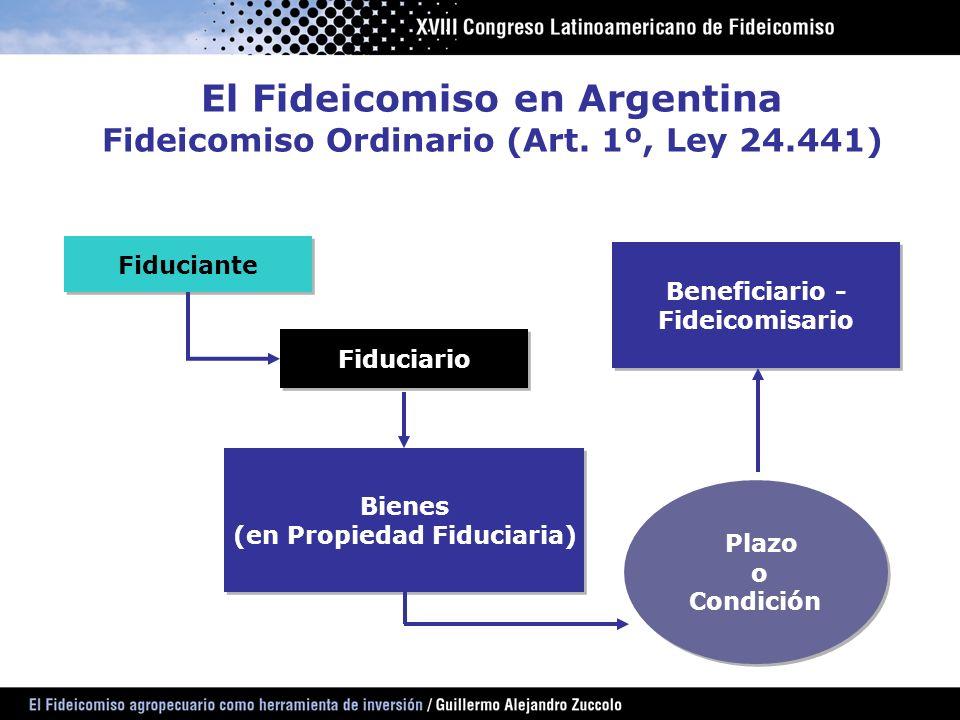 El Fideicomiso en Argentina Fideicomiso Ordinario (Art. 1º, Ley 24.441) Fiduciante Fiduciario Bienes (en Propiedad Fiduciaria) Bienes (en Propiedad Fi