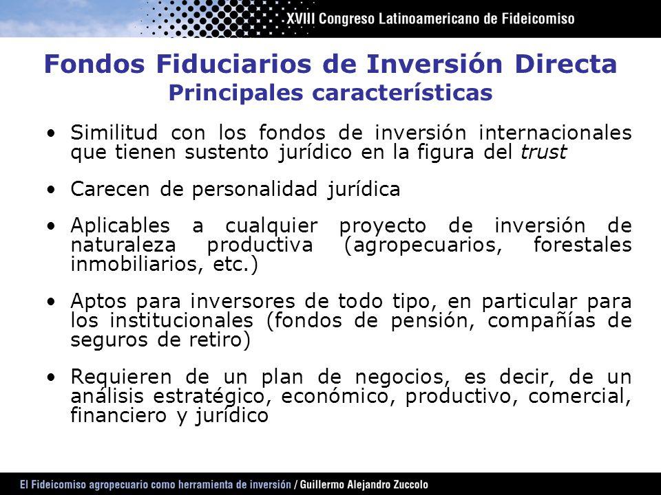Similitud con los fondos de inversión internacionales que tienen sustento jurídico en la figura del trust Carecen de personalidad jurídica Aplicables