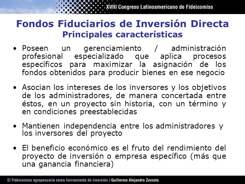 Organizador Fiduciante Sociedad Fiduciaria o Gerente Inversores Operadores Técnicos Auditores Externos Entidades Financieras Bolsas y Mercados de Valores y sus agentes Calificadoras de riesgo Fondos Fiduciarios de Inversión Directa Participantes