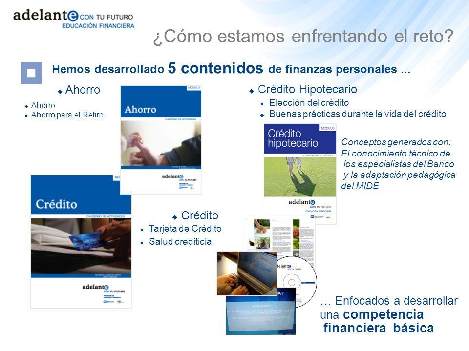 Hemos desarrollado 5 contenidos de finanzas personales... Tarjeta de Crédito Salud crediticia Ahorro Crédito Ahorro Ahorro para el Retiro … Enfocados