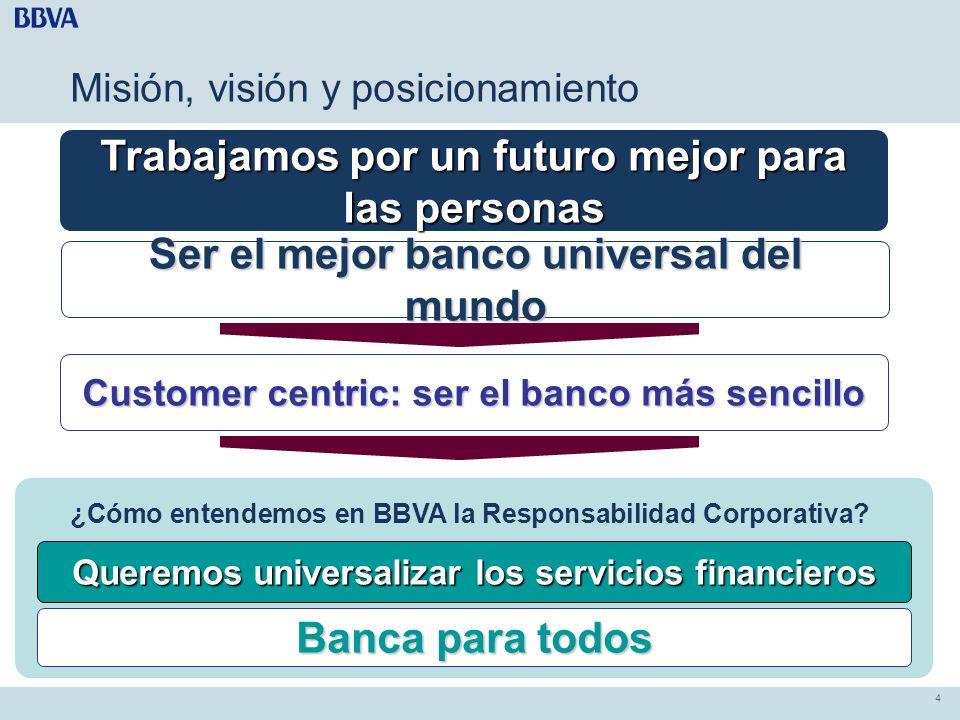 4 4 Misión, visión y posicionamiento Trabajamos por un futuro mejor para las personas Ser el mejor banco universal del mundo Queremos universalizar lo