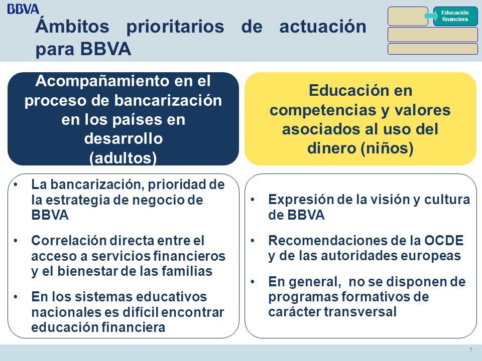 7 7 Ámbitos prioritarios de actuación para BBVA Educación financiera Acompañamiento en el proceso de bancarización en los países en desarrollo (adulto
