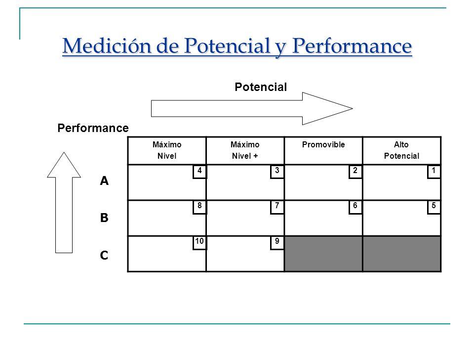 Medición de Potencial y Performance Máximo Nivel Máximo Nivel + PromovibleAlto Potencial Performance A B C 4321 8765 109