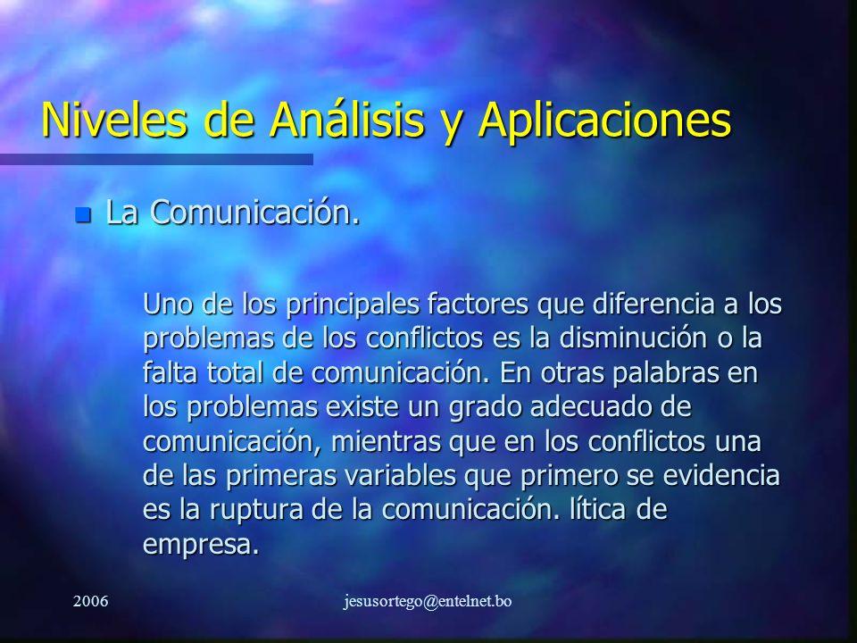 2006jesusortego@entelnet.bo Niveles de Análisis y Aplicaciones n La Comunicación. Uno de los principales factores que diferencia a los problemas de lo