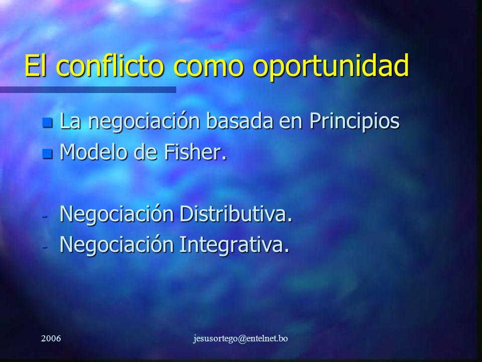 2006jesusortego@entelnet.bo El conflicto como oportunidad n La negociación basada en Principios n Modelo de Fisher. - Negociación Distributiva. - Nego