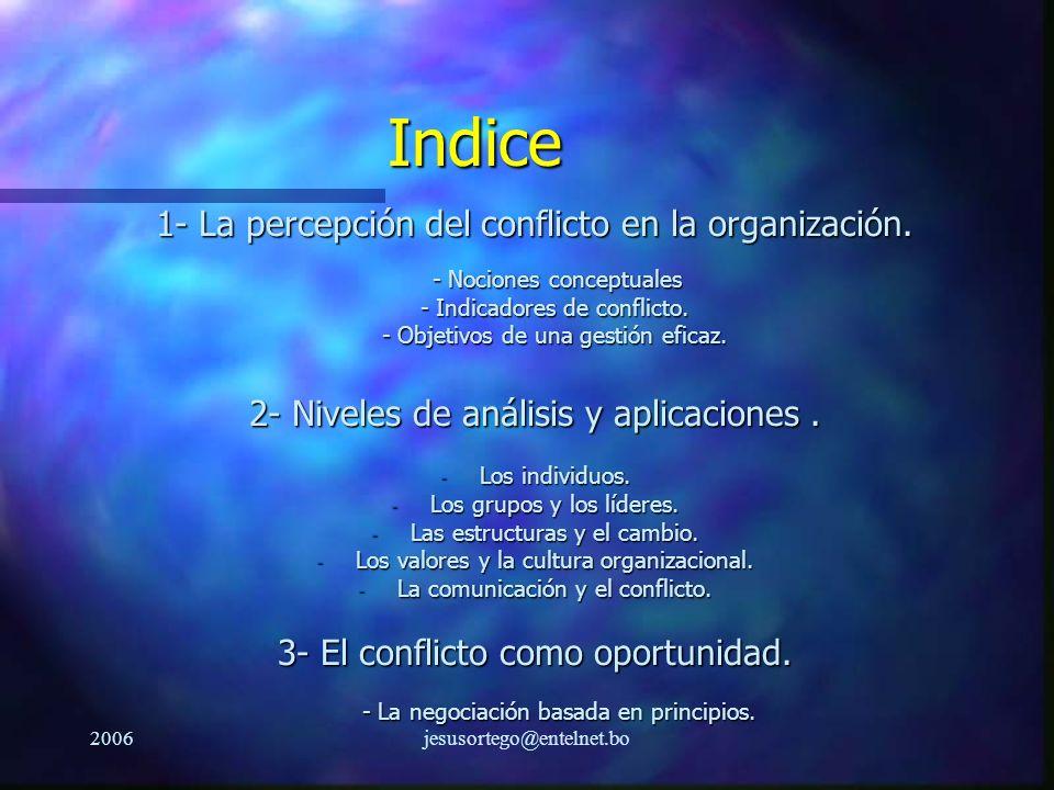 2006jesusortego@entelnet.bo Indice 1- La percepción del conflicto en la organización. - Nociones conceptuales - Nociones conceptuales - Indicadores de