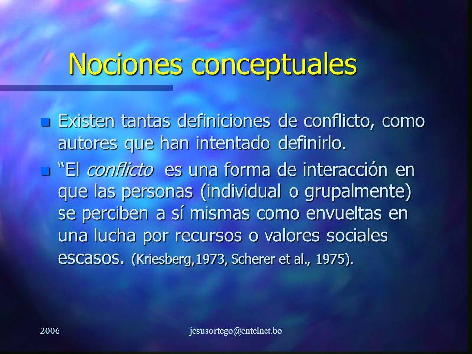 2006jesusortego@entelnet.bo Nociones conceptuales n Existen tantas definiciones de conflicto, como autores que han intentado definirlo. n El conflicto