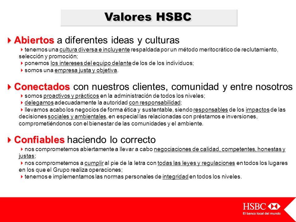 Valores HSBC Abiertos Abiertos a diferentes ideas y culturas tenemos una cultura diversa e incluyente respaldada por un método meritocrático de reclut