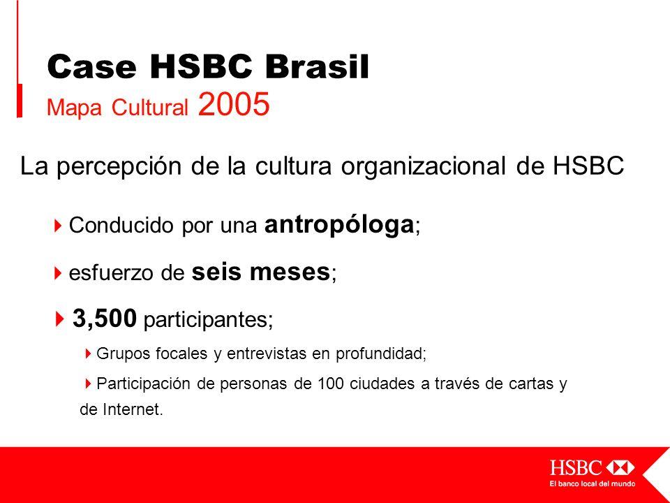 La percepción de la cultura organizacional de HSBC Conducido por una antropóloga ; esfuerzo de seis meses ; 3,500 participantes; Grupos focales y entr