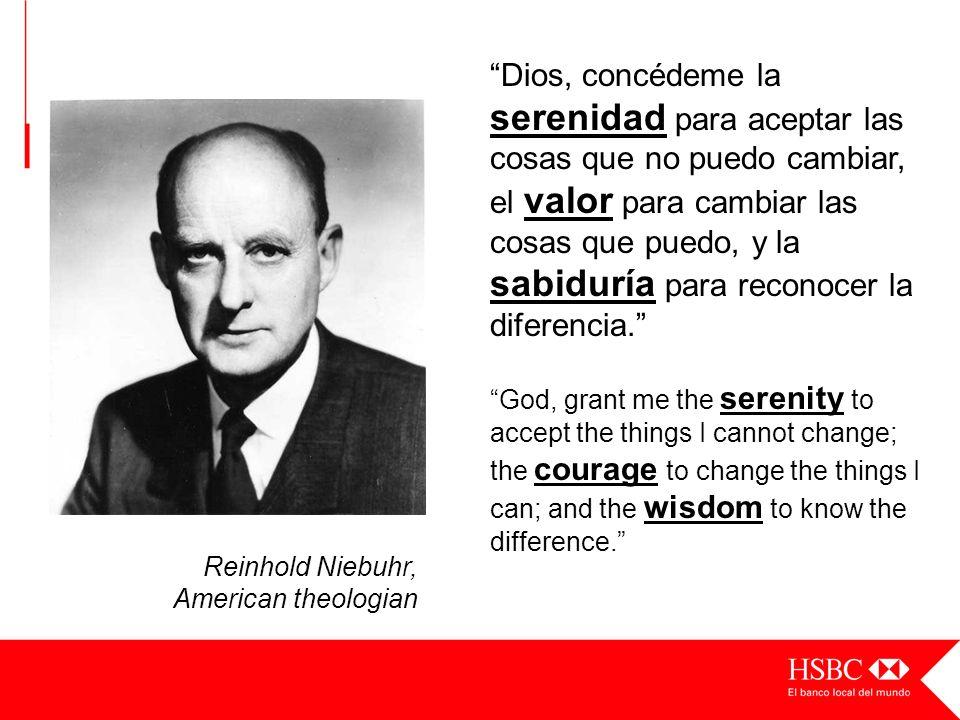 Reinhold Niebuhr, American theologian Dios, concédeme la serenidad para aceptar las cosas que no puedo cambiar, el valor para cambiar las cosas que pu