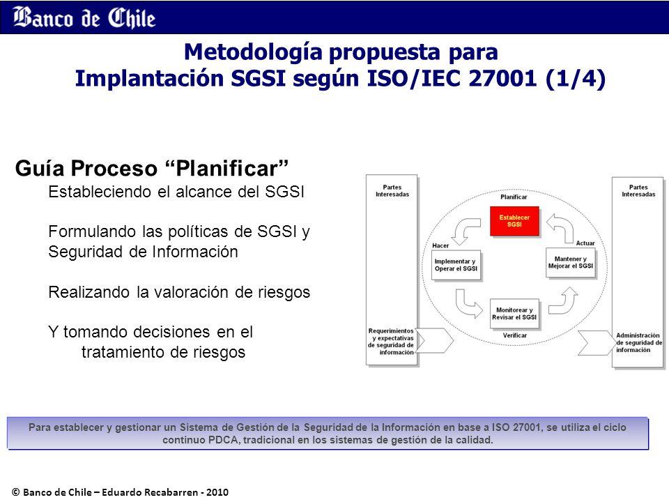 Metodología propuesta para Implantación SGSI según ISO/IEC 27001 (1/4) Guía Proceso Planificar Estableciendo el alcance del SGSI Formulando las políti