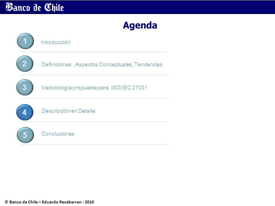 Agenda Definiciones, Aspectos Conceptuales, Tendencias Metodología propuesta para ISO/IEC 27001 Descripción en Detalle Conclusiones 1 2 3 4 5 Introduc
