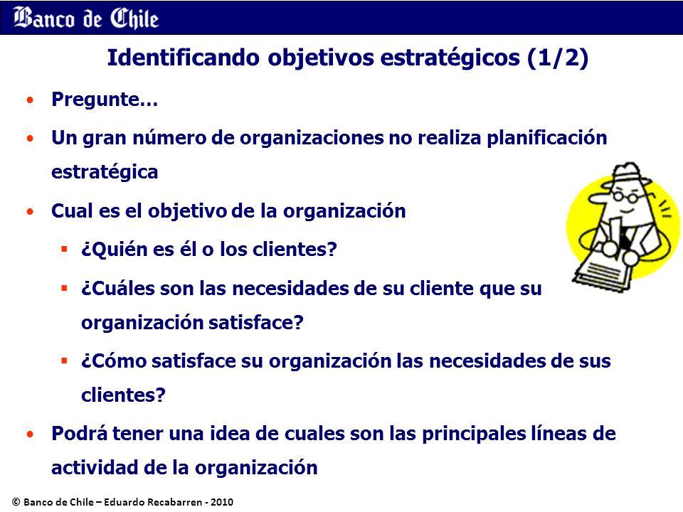 Identificando objetivos estratégicos (1/2) Pregunte… Un gran número de organizaciones no realiza planificación estratégica Cual es el objetivo de la o