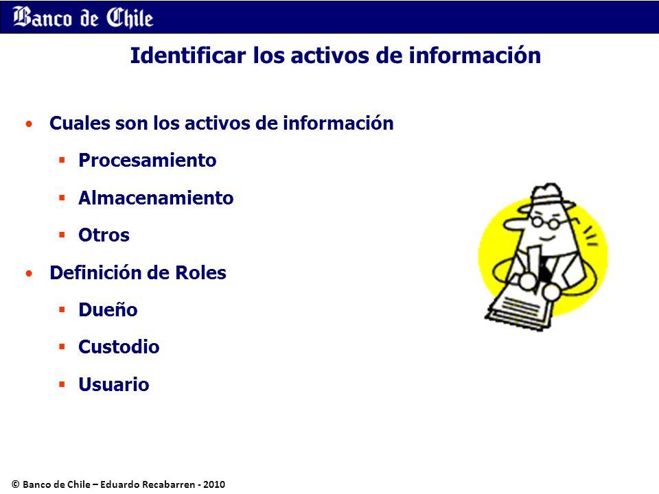 Identificar los activos de información Cuales son los activos de información Procesamiento Almacenamiento Otros Definición de Roles Dueño Custodio Usu