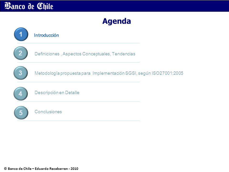 Agenda Definiciones, Aspectos Conceptuales, Tendencias Metodología propuesta para Implementación SGSI, según ISO27001:2005 Descripción en Detalle Conc