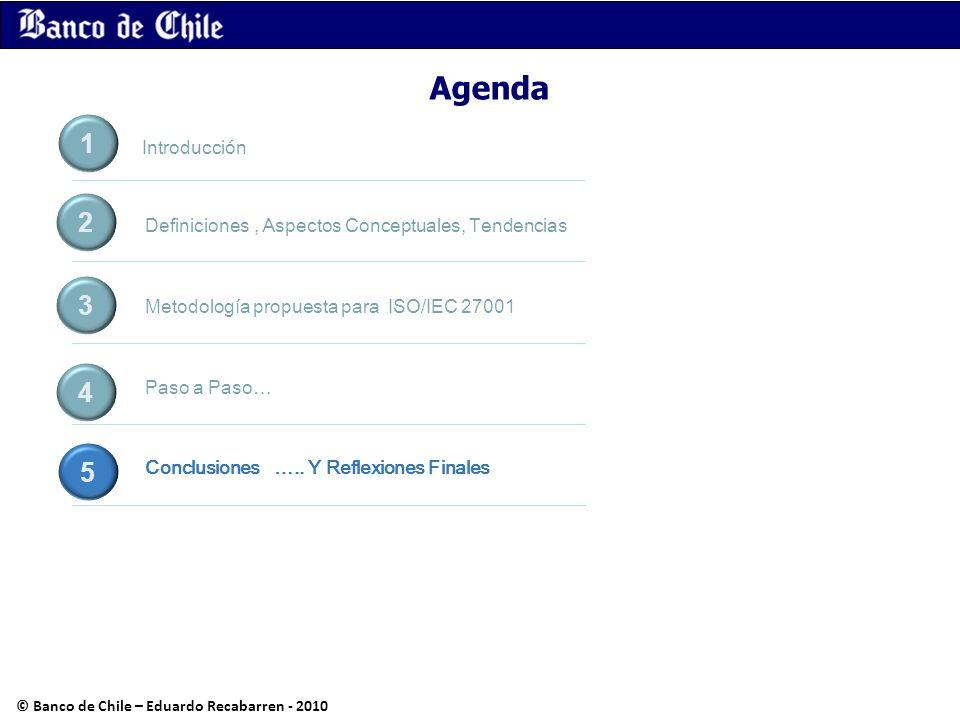 Agenda Definiciones, Aspectos Conceptuales, Tendencias Metodología propuesta para ISO/IEC 27001 Paso a Paso… Conclusiones ….. Y Reflexiones Finales 1
