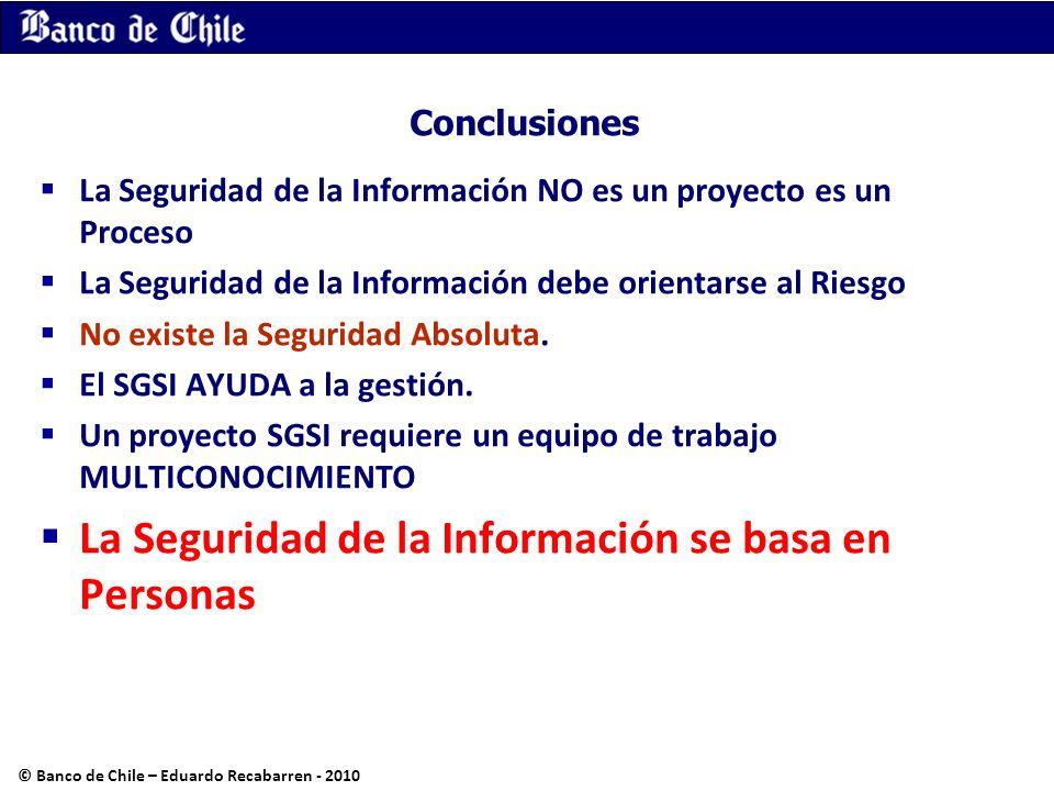 Conclusiones La Seguridad de la Información NO es un proyecto es un Proceso La Seguridad de la Información debe orientarse al Riesgo No existe la Segu