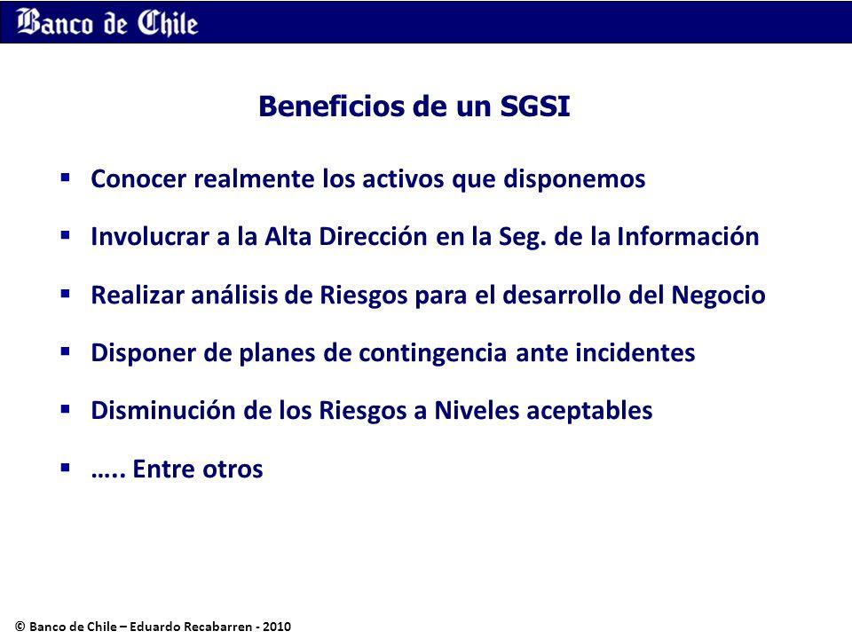 Beneficios de un SGSI Conocer realmente los activos que disponemos Involucrar a la Alta Dirección en la Seg. de la Información Realizar análisis de Ri