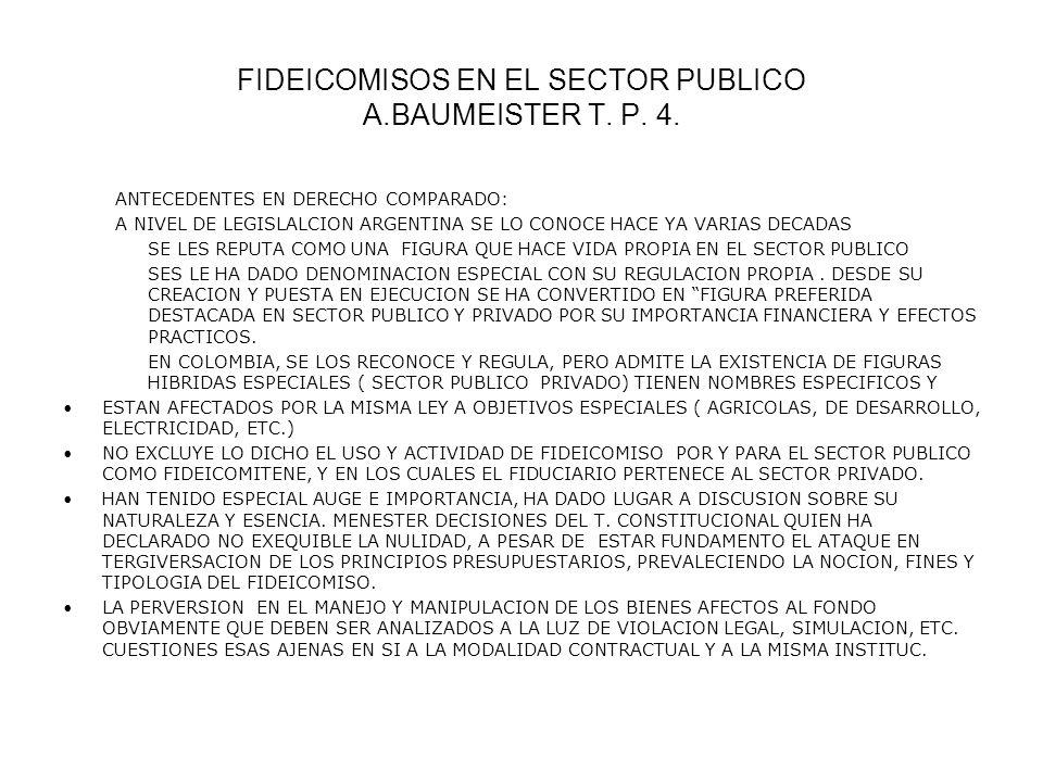 FIDEICOMISOS EN EL SECTOR PUBLICO A.BAUMEISTER T. P. 4. ANTECEDENTES EN DERECHO COMPARADO: A NIVEL DE LEGISLALCION ARGENTINA SE LO CONOCE HACE YA VARI