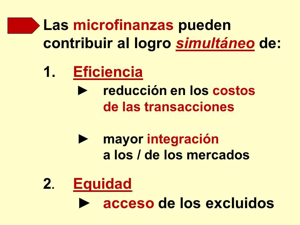 Las microfinanzas pueden contribuir al logro simultáneo de: 1.Eficiencia reducción en los costos de las transacciones mayor integración a los / de los