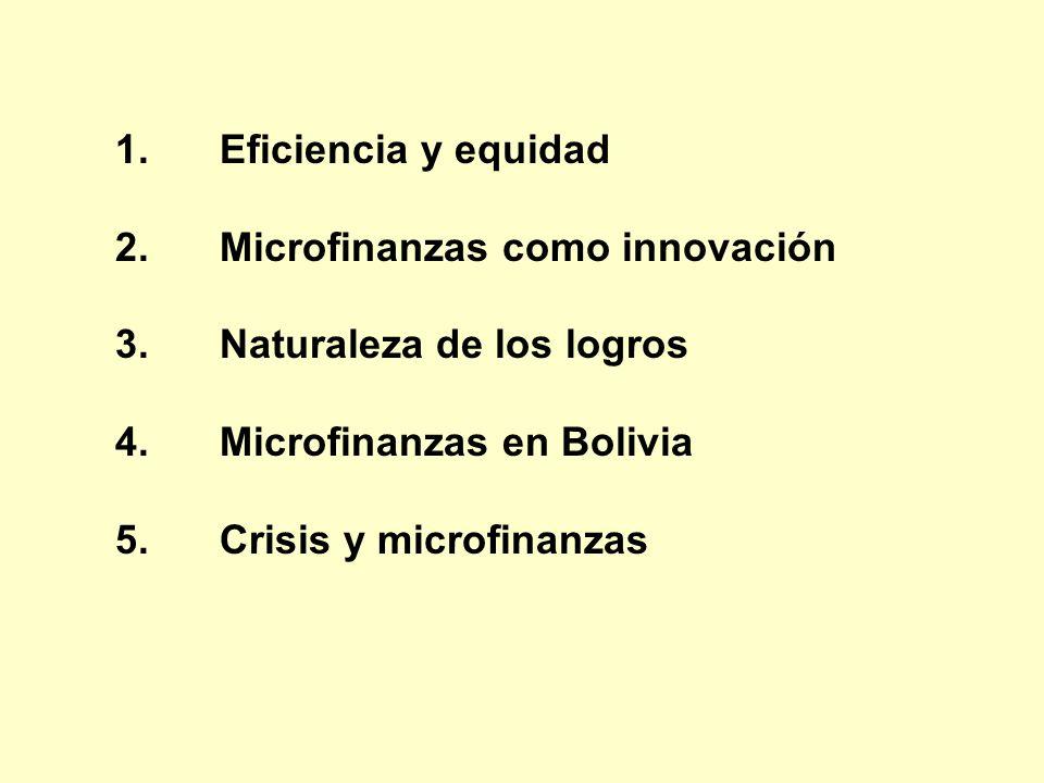 En microfinanzas … los motores genuinos de la eficiencia, resultado de innovaciones, aumentos de escala, diversificación de la cartera y otros equivalentes, unidos a una misión clara, han contribuido a mayores logros de equidad.