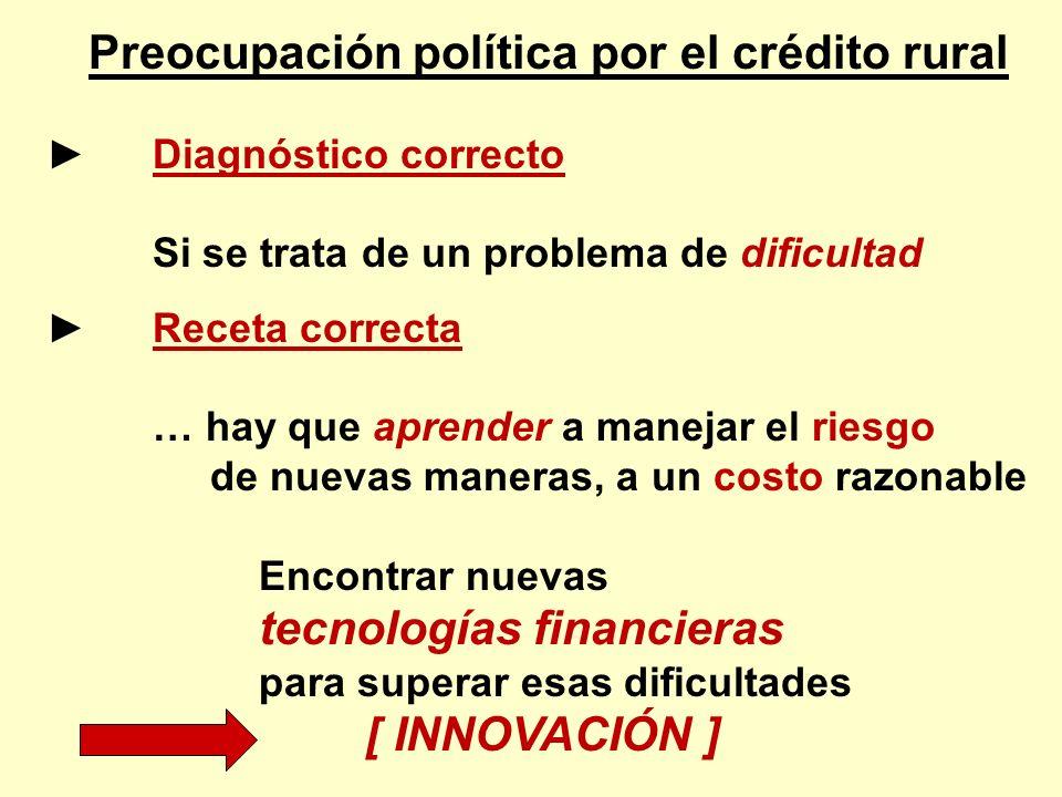 Preocupación política por el crédito rural Diagnóstico correcto Si se trata de un problema de dificultad Receta correcta … hay que aprender a manejar