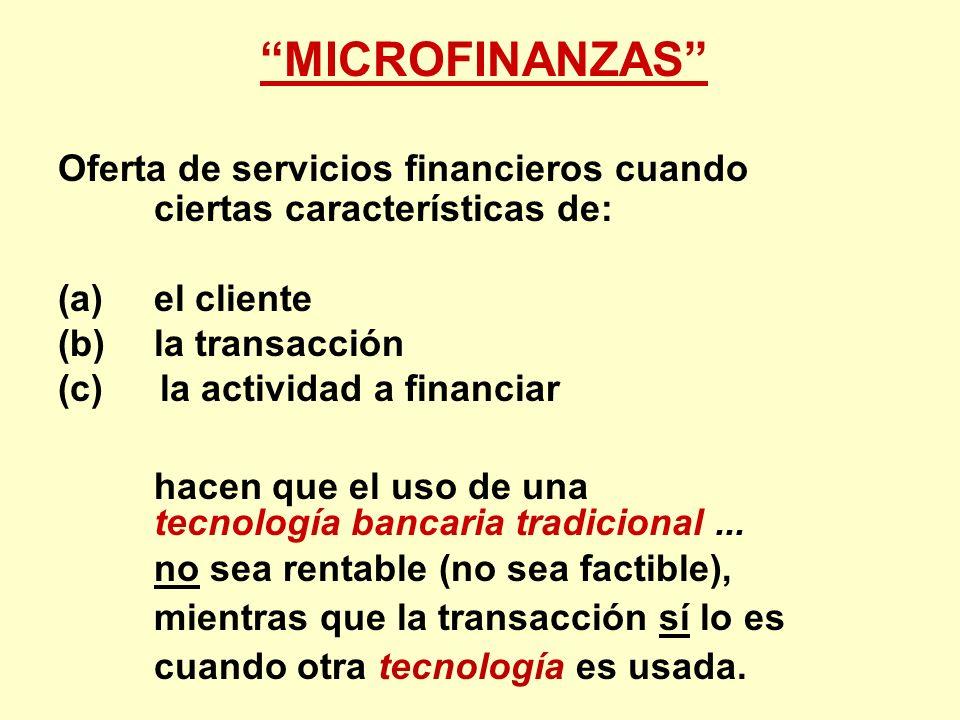 MICROFINANZAS Oferta de servicios financieros cuando ciertas características de: (a) el cliente (b) la transacción (c)la actividad a financiar hacen q